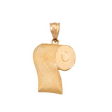 Toilet Paper Pendant Necklace in Solid Gold (Yellow/Rose/White)