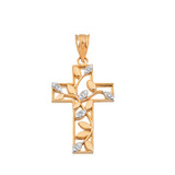 Leafy Cut-Out Two Tone Diamond Cross Pendant Necklace in Gold (Yellow/Rose/White)
