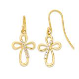 Open Cross Ear-Wire Earrings in Gold (Yellow/Rose/White)