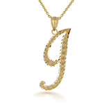"Gold Cursive Initial Letter ""I"" 10k/14k Pendant/Necklace  (Yellow/Rose/White)"