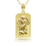 3D 10k/14k Saint Michael Archangel Pendant Necklace(YELLOW/ROSE/WHITE)