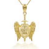 """10k/14k 3D Gold Saint Michael Sword and Shield """"Quis ut Deus?"""" Pendant Necklace(YELLOW/ROSE/WHITE)"""