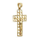 Gold 3D Hexagonal Crucifix Cross Pendant Necklace (YELLOW/ROSE/WHITE)