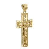 Gold 3D Rectangular Crucifix Cross Pendant Necklace (YELLOW/ROSE/WHITE)