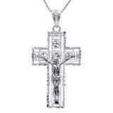 Silver 3D Rectangular Crucifix Cross Pendant Necklace