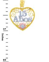 Sweet 15 Años Quinceanera Gold Heart Pendant with Cubic Zirconia