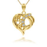 Shiny Mom Heart Pendant Necklace in Gold (Yellow/ Rose/ White)
