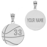 Personalized Engravable Silver Basketball Charm Necklace With Your Number And Name