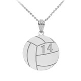 Personalized Engravable Silver Volleyball Charm Necklace With Your Number And Name