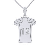 Personalized Engravable Silver Football Jersey Charm Necklace With Your Number And Name
