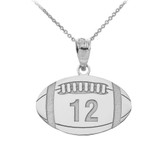 Personalized Engravable Silver Football Charm Necklace With Your Number And Name