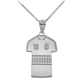 Personalized Engravable Silver Soccer Jersey Charm Necklace With Your Number And Name
