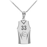 Personalized Engravable Silver Basketball Jersey Charm Necklace With Your Number And Name