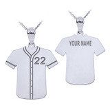 Personalized Engravable Silver Baseball Jersey Charm Necklace With Your Number And Name
