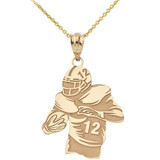 Personalized Engravable Gold Football Player Charm Necklace With Your Number And Name(Yellow/Rose/White)