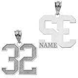 Personalized Engravable Silver Jersey Lucky Number and Name Charm Necklace
