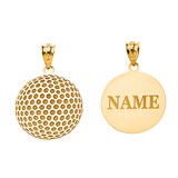 Personalized Engravable Gold Golf Ball Pendant Engraved with Your Name(Yellow/Rose/White)