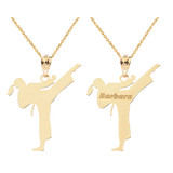 Personalized Engravable Gold Name Girl Female Karate Martial Arts Sports Charm Pendant(Yellow/Rose/White)