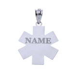 Personalized Engravable Silver Caduceus MD Medical Doctor Charm Necklace with Your Name