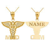 Personalized Engravable Gold Name Caduceus MD Medical Doctor Charm Necklace(Yellow/Rose/White)
