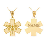 Personalized Engravable Gold Caduceus RN Registered Nurse EMT Cross Charm Necklace with Your Name(Yellow/Rose/White)