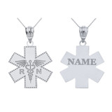 Sterling Silver Personalized Name Caduceus RN Charm Registered Nurse EMT Cross Pendant Necklace