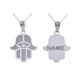 Middle Eastern Jewelry Personalized Name Hamesh Hand Hamsa with Evil Eye Silver Pendant Necklace