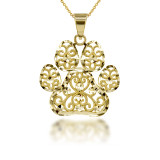 Sparkle Cut Filigree Paw Print Pendant Necklace in Gold(Available in Yellow/ White/ Rose Gold)