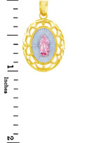 Gold Pendants - Our Lady of Guadalupe Three-Tone Gold Pendant