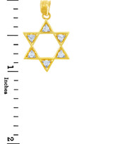 Jewish Charms and Pendants - Gold Gleaming Star of David in Cubic Zirconia Pendant