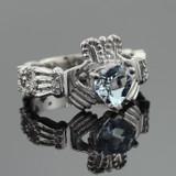 White Gold Diamond Claddagh Ring 0.40 Carats with Aquamarine Stone