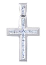 Silver Cross Diamonds Pendant (w Chain)