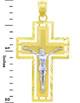 Two Tone Gold Crucifix Pendant - The Miraculous Crucifix