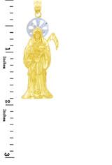 Religious Charms - The Santa Muerte Two Tone Gold Pendant (Medium)