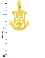 Religious Charms - The Anchored Mariners Cross Gold Pendant