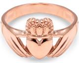 Rose Gold Irish Claddagh Ring Ladies