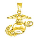 Gold US Marine Corps Medium Pendant Necklace