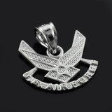 White Gold US Air Force Wings Pendant Necklace