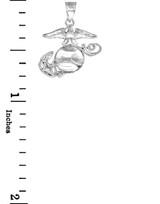 White  Gold US Marine Corps Small Pendant