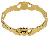 Gold Claddagh Eternity Ring Ladies.  Available in your choice of 14k or 10k Gold.
