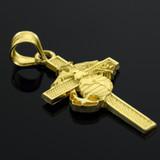 Yellow Gold US Marine Cross Large Pendant Necklace
