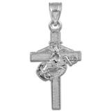 White Gold US Marine Cross Large Pendant Necklace