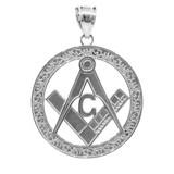 "White Gold Freemason Round Masonic Bail Pendant 1.2"""