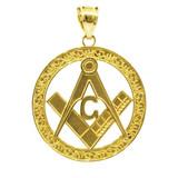 """Yellow Gold Freemason Round Masonic Bail Pendant 1.2"""""""