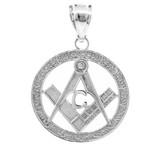 925 Sterling Silver Freemason Small Round Masonic Pendant Necklace