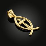 Gold Ichthus Cross Pendant Necklace