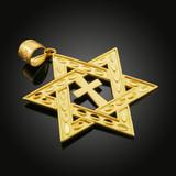 "Yellow Gold Jewish Star of David Cross Pendant (L) 2.2"""
