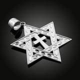 "White Gold Jewish Star of David Cross Pendant (L) 2.2"""