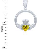 Silver Claddagh Yellow CZ Heart Pendant (L)