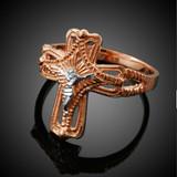 Two-Tone Rose Gold Crucifix Cross Ring